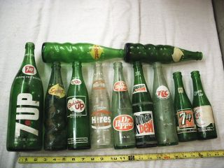 11 POP BOTTLES 7UP SQUIRT RC DR PEPPER HIRES BUBBLE UP CHEER UP