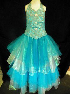 National Pageant Dress Unique Fasion Size 6 Glitz Turquoise