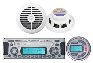 Marine Boat Waterproof CD MP3 WMA USB Radio Player Pair Speakers Wired