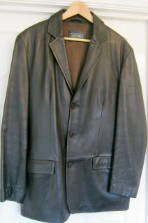 MENS MARKS AND SPENCER M S BROWN CLASSIC VINTAGE LEATHER JACKET BLAZER