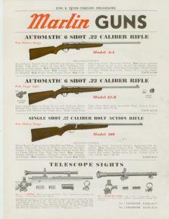 Catalog Page Ad Marlin Guns 22 Caliber Bolt Action Rifles 1939