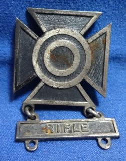 Sterling Army Rifle Marksman Badge by Robbins Very RARE Mark