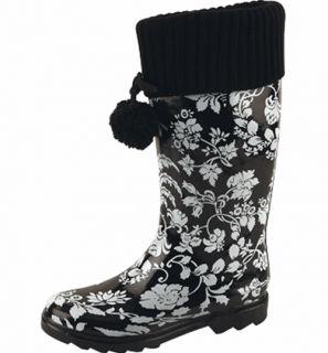 Fashion Trendy Women Rubber Mid Knee Rain Boot Shoes