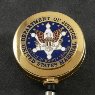 US Marshal USMS Seal Retractable Badge ID Holder Reel