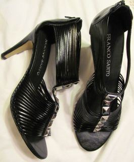 FRANCO SARTO BLACK LEATHER STRAPPY ZIPPER BACK HEELS, SIZE 8 1/2M, NEW