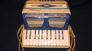 VINTAGE MAROTTA 12 BASS ACCORDION CASE MADE IN ITALY BLUE PEARL