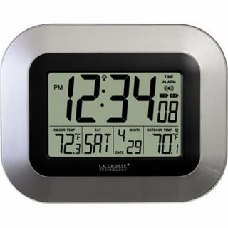 La Crosse Technology Atomic Digital Wall Clock with Date and Indoor