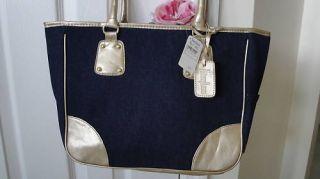 Dark Blue Denim Shoulder Hand Bag Tote