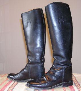 Black Leather Marlborough Equestrian Riding Boots Men Size 5 5 B Made