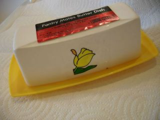 Vtg Yellow White Plastic Butter Dish tray Holder tulip design New Old
