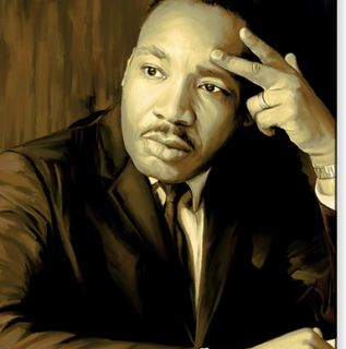 Martin Luther King Signed Canvas Art Painting 26 x 15