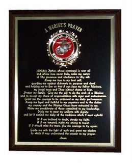 Marines Prayer Plaque Great Gift or Award