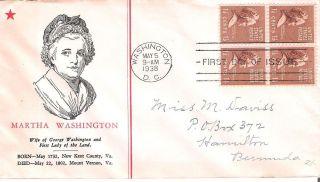 Martha Washington Scott 840 1938 First Day Cover