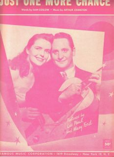 Les Paul and Mary Ford Just One More Chance US Sheet Music