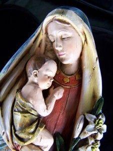 Mary Mother of Jesus w Baby Jesus Christ Statue Figure