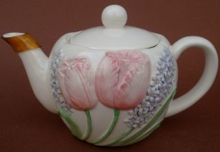 Japan TEAPOT Tea Pot TULIP GARDEN Mary Ann Baker Embossed Hyacinth