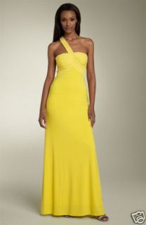 268 Mary L Couture One Shoulder Jersey Gown 6 Yellow wedding prom