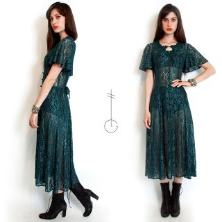 Green GOTH CAGE SHEER LACE Grunge DRAPE mary kate MAXI DRESS S M