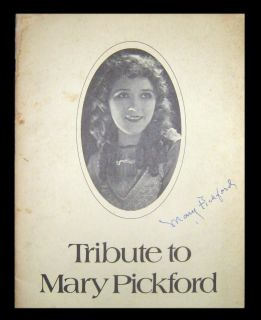 to Mary Pickford Robert B Cushman 1st 1st wps signed by Mary Pickford