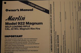 Marlin Model 922 Magnum Self Loading Rifle 22 WMR Only Owners Manual