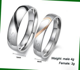 Heart Shape Matching Titanium Steel Promise Ring Couple Wedding Bands