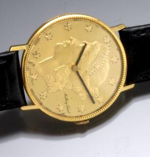 Mathey Tissot U s $20 00 18K Gold Lady Liberty Coin Style Wrist Watch