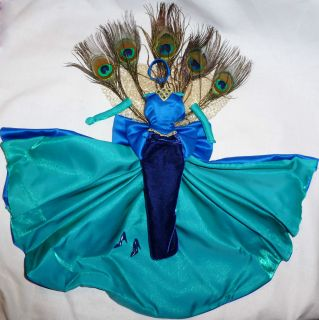 MATTEL BARBIE DOLL THE PEACOCK BLUE FEATHER GOWN DRESS SHOE OUTFIT