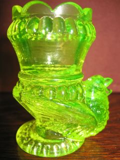 Vaseline glass tabletop toothpick holder uranium Canary yellow Bird