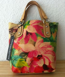 New Maurizio Taiuti Painted Leather Floral Tote Bag Made in Italy