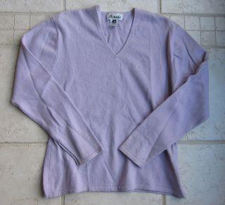 Maude 100 Cashmere V Neck Sweater Medium Lilac