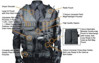 Leapers UTG Vest Black 547 Law Enforcement Tactical Vest PVC V547BT