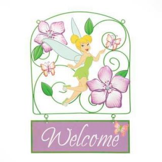 Metal Hanging Disney Tinkerbell Welcome Sign Home Decor Garden Great