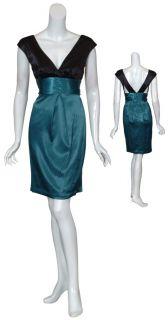 Max and Cleo BCBG Deep Teal Satin Sash Eve Dress 2 New