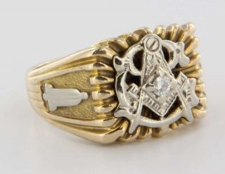 Vintage Yellow Gold Masonic Mens Diamond Ring Estate Fraternal Jewelry