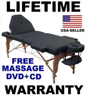 MASSAGE TABLE NEW BED PORTABLE FREE MASSAGE DVD MUSIC CD SHEET CRADLE
