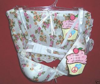 Lady Q Peace Love & Cupcakes 36C Bra / S Panty   NWT