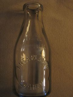 McFarlands Dairy Embossed Quart Milk Bottle Watertown Wisconsin Wisc