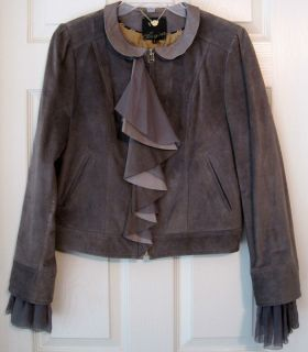 McGinn Gray Suede Leather Jacket Silk Chiffon Ruffle Jacket Large