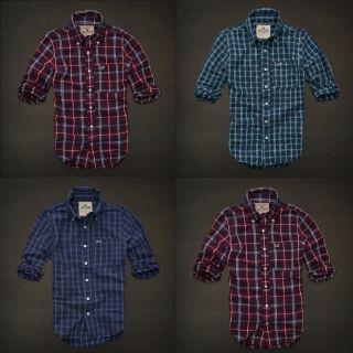 New Hollister by Abercrombie Mens McGrath Classic Logo Plaid Shirt T