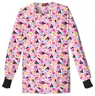 Dickies Medical Dental Uniform Scrubs Print Top Jacket Pink Flower Dog