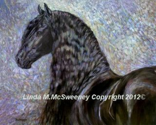 Linda McSweeney 11 x 14 Print Friesian Horse Black Magic Portrait