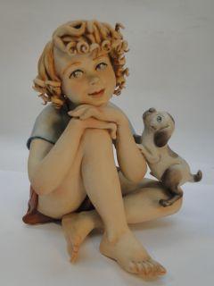 Capodimonte Figurine Child Girl w Puppy Dog Signed Rori Medea
