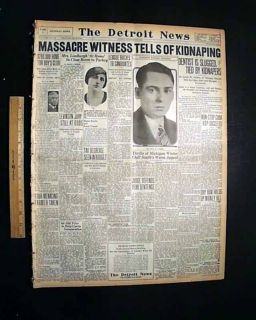 ST. VALENTINES DAY MASSACRE Kidnapping 1929 Newspaper Al Capone Bugs