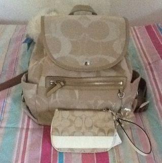 Coach Kyra Sig Khaki Gold Backpack Bag Style 19673 Matching Wristlet