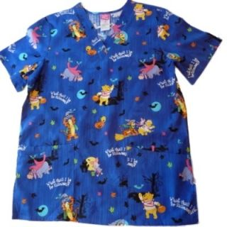 Bear Tigger Nurse Smock Medical Scrubs Top Holiday Halloween