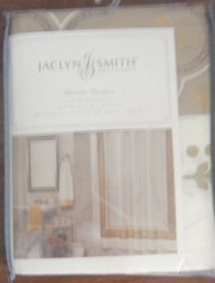 New Jaclyn Smith Gold Metallic Accents Shower Curtain