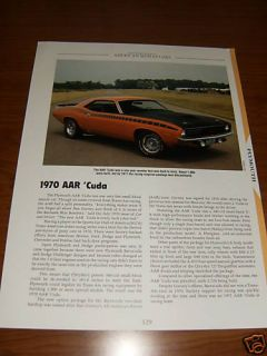 1970 Plymouth AAR Cuda Specs Info Photo 70 340 Mopar