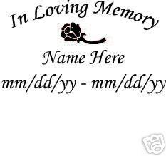 Vinyl Decals in Loving Memory Custom Memorial Sticker