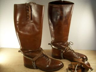 US ARMY LEATHER CAVALRY MENS RIDING BOOTS size 8 5 TEITZEL DEHNER WWI