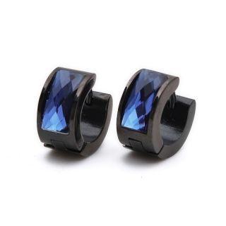 Black Blue Crystal Stainless Steel Stud Hoop Mens Earrings E185